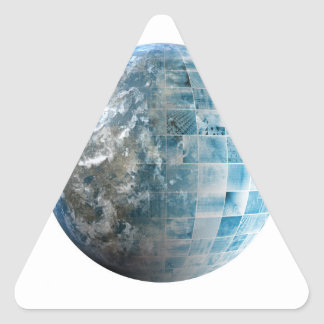Business Technology Global Network with Futuristic Triangle Sticker