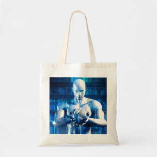 Business Technology Global Network with Futuristic Tote Bag