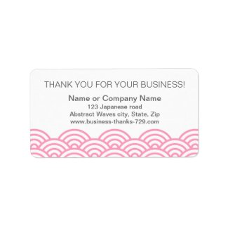 Business thank you address labels, pink waves zazzle_label