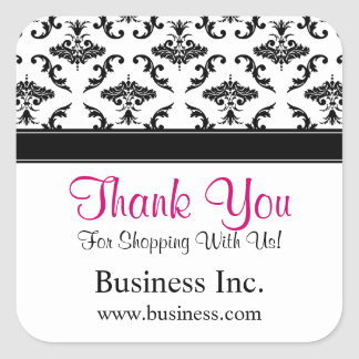 Business Thank You Black Damask Pink Square Sticker