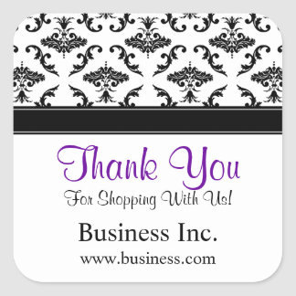Business Thank You Black Damask Purple Square Sticker