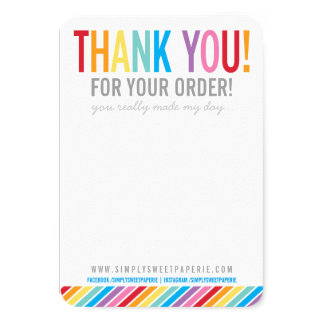 BUSINESS THANK YOU bold colorful rainbow stripe Card