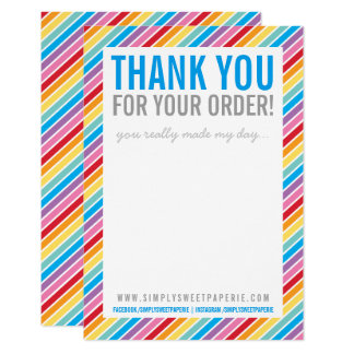 BUSINESS THANK YOU bright colorful rainbow stripe Card
