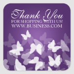 Business Thank You Butterflies Purple Square Stickers