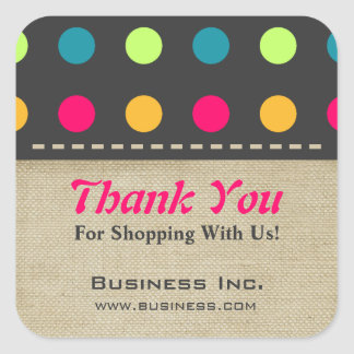 Business Thank You Candy Polka Dot Green Sticker