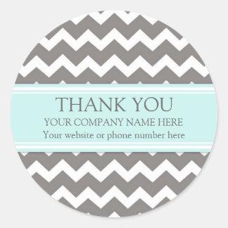 Business Thank You Company Aqua Grey Chevron Classic Round Sticker