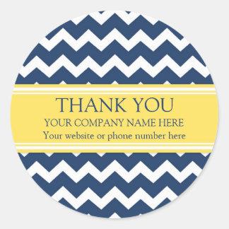 Business Thank You Company Name Blue Chevron Classic Round Sticker