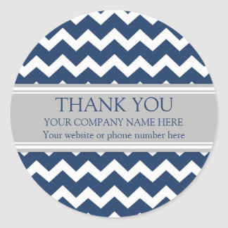 Business Thank You Company Name Blue Gray Chevron Classic Round Sticker