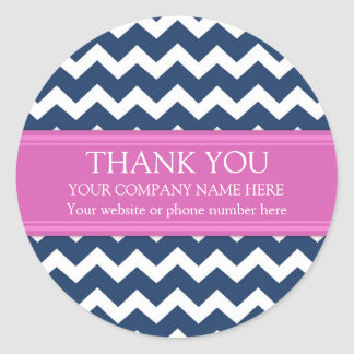 Business Thank You Company Name Blue Pink Chevron Classic Round Sticker