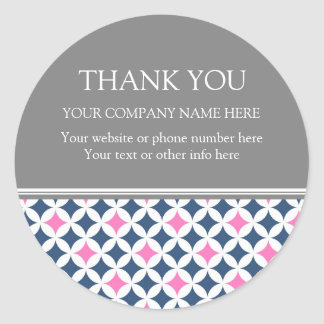 Business Thank You Company Name Blue Pink Pattern Classic Round Sticker