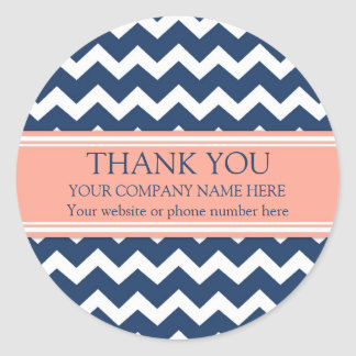 Business Thank You Company Name Coral Blue Chevron Classic Round Sticker