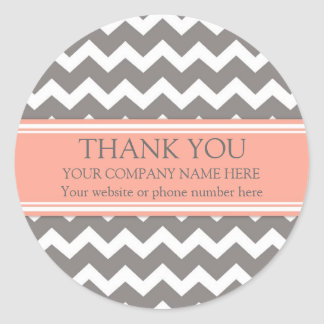 Business Thank You Company Name Coral Grey Chevron Classic Round Sticker