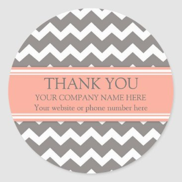 Professional Business Business Thank You Company Name Coral Grey Chevron Classic Round Sticker