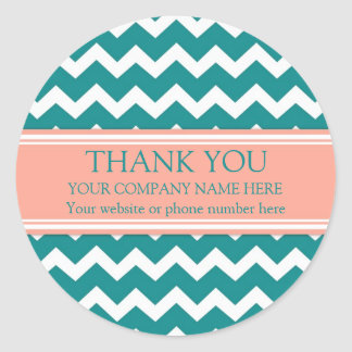 Business Thank You Company Name Coral Teal Chevron Classic Round Sticker