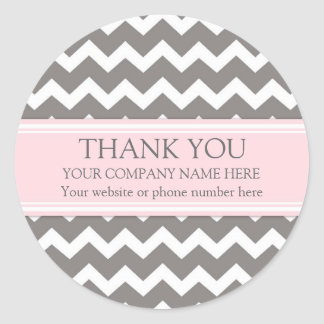Business Thank You Company Name Pink Gray Chevron Classic Round Sticker