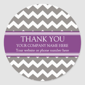 Business Thank You Company Name Plum Gray Chevron Classic Round Sticker