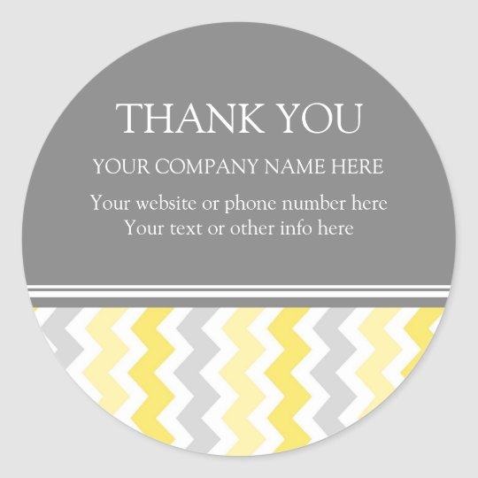 Business Thank You Company Name Yellow Chevron Classic Round Sticker