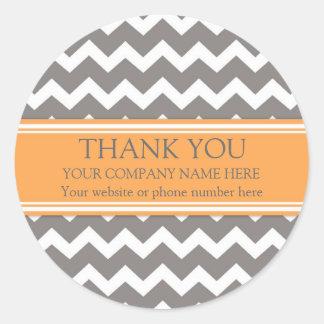 Business Thank You Company Orange Grey Chevron Classic Round Sticker