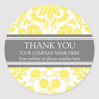 Business Thank You Custom Company Name Grey Yellow Classic Round Sticker