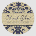 Business Thank You Customized Stickers Blue Round Sticker