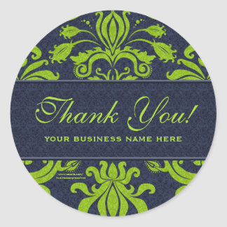 Business Thank You Customized Stickers Green Round Sticker