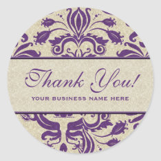 Business Thank You Customized Stickers Purple at Zazzle
