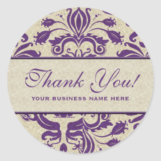Business Thank You Customized Stickers Purple Round Sticker