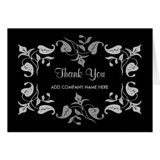 Business Thank You -Elegant Silver Leaves on Black Card