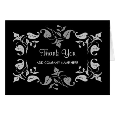 Professional Business Business Thank You -Elegant Silver Leaves on Black Card