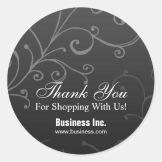 Business Thank You Elegant Swirl Black Classic Round Sticker
