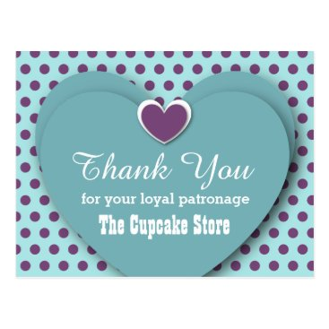 Professional Business BUSINESS Thank You Hearts Dots B04 AQUA Postcard