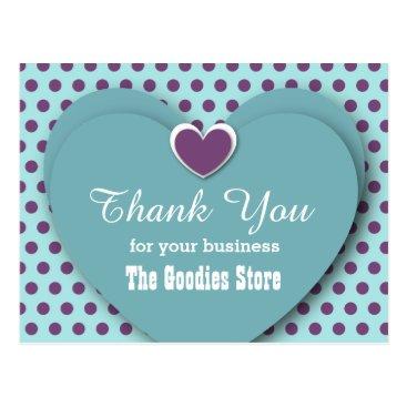 Professional Business BUSINESS Thank You Hearts Dots B05 AQUA Postcard