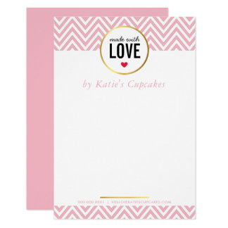 BUSINESS THANK YOU made with love pink chevron Card