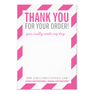BUSINESS THANK YOU NOTE bold bright stripe pink Card