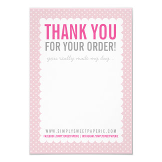 BUSINESS THANK YOU NOTE pretty polkadot pink Card