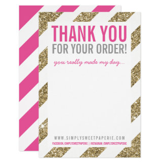 BUSINESS THANK YOU NOTE stripe gold glitter pink Card