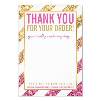 BUSINESS THANK YOU NOTE stripe gold pink glitter Card