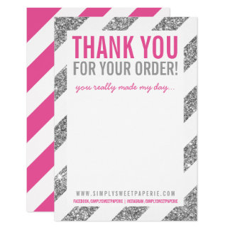 BUSINESS THANK YOU NOTE stripe silver glitter pink Card