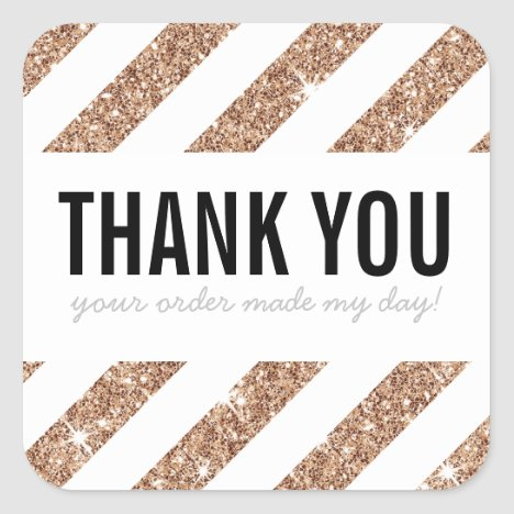BUSINESS THANK YOU rose gold glitter stripe black Square Sticker
