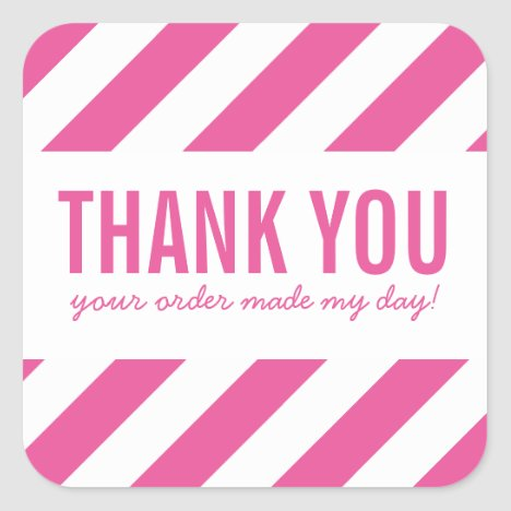 BUSINESS THANK YOU SEAL bold bright stripe pink