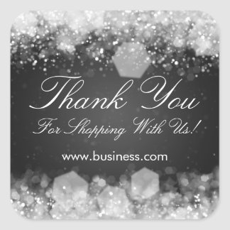 Business Thank You Sparkling Night Black Square Stickers