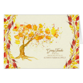 Business Thanksgiving for Customers Autumn Tree Card