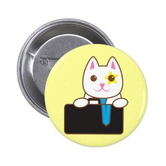 Business time Walnut cat Pinback Button