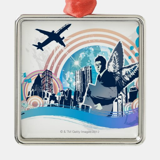 Business Travel Square Metal Christmas Ornament