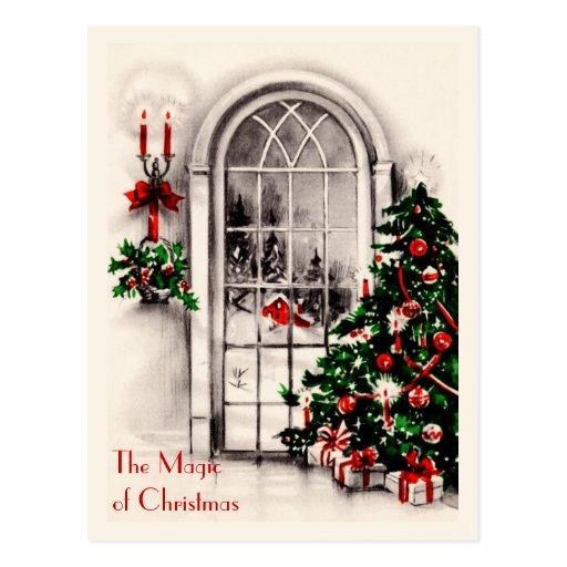 Business Vintage Christmas Window Postcard
