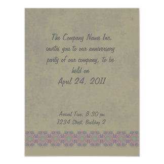 Business Vintage Fractal Polygons Blue 4.25x5.5 Paper Invitation Card