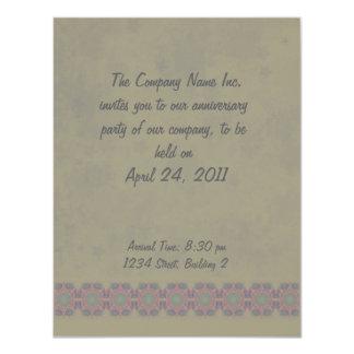 """Business Vintage Fractal Polygons Blue 4.25"""" X 5.5"""" Invitation Card"""