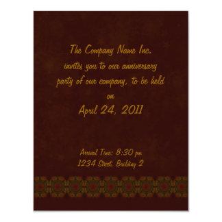 Business Vintage Fractal Polygons Brown 4.25x5.5 Paper Invitation Card