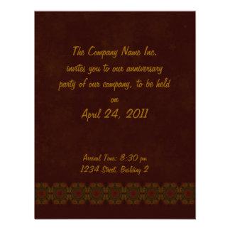 Business Vintage Fractal Polygons Brown Invitation