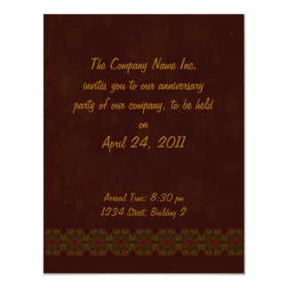 "Business Vintage Fractal Polygons Brown 4.25"" X 5.5"" Invitation Card"